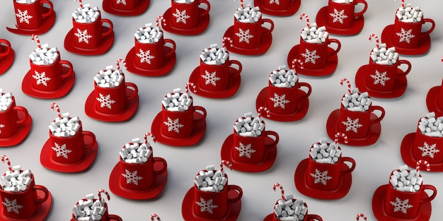 마시멜로와 사탕 지팡이가 있는 초콜릿 머그입니다. 크리스마스 음료입니다. 공간을 복사합니다. 3d 그림입니다.