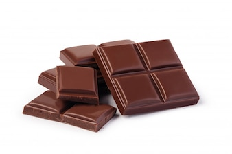 Chocolate on white background isolated