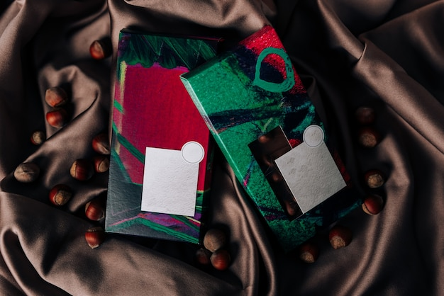 Chocolate packaging on a crumpled satin fabric