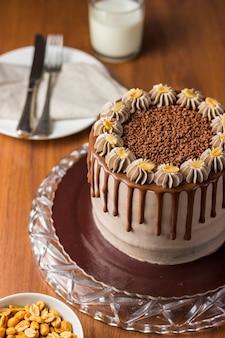 Chocolate and peanut cake