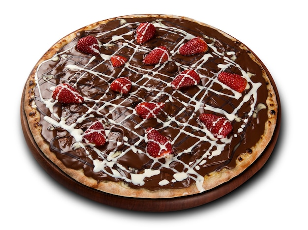 Chocolate pizza with strawberries and white chocolate in white surface