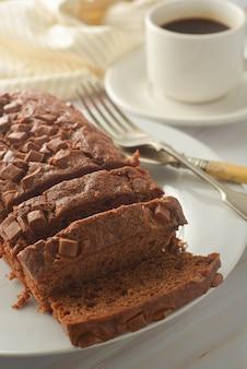 Chocolate pound cake. homemade dark chocolate pastry for breakfast or dessert