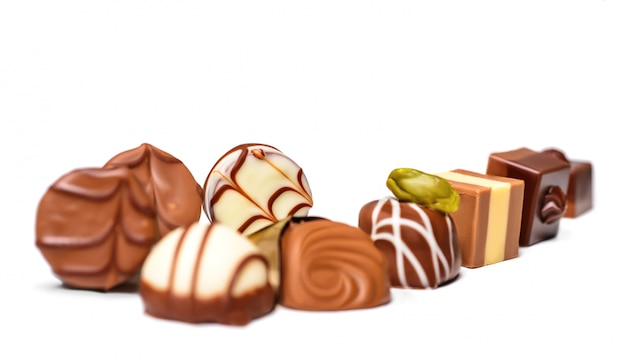 Chocolate pralines isolated on white