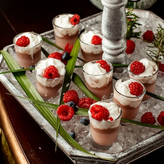 Chocolate pudding topped with whipped cream and raspberry in shot glasses