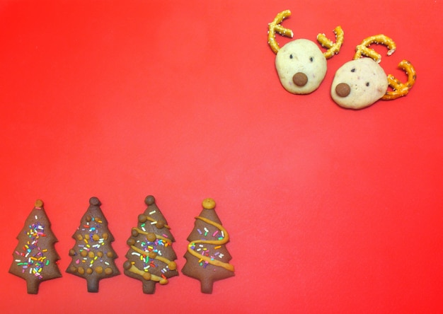 Chocolate reindeer cookies and christmas tree cookies