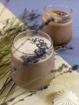 Chocolate shake on the table