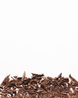Chocolate shavings with copy space