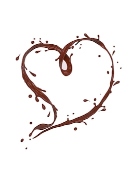 Chocolate splash heart shape on white
