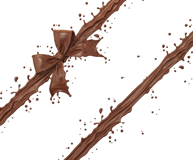 Chocolate splash in ribbon bow shape
