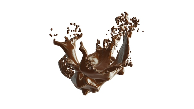 Chocolate splash with droplets 3d rendering.