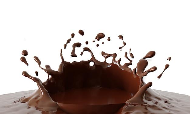 흰색 배경, 3d 렌더링에 연단에서 초콜릿 튀는