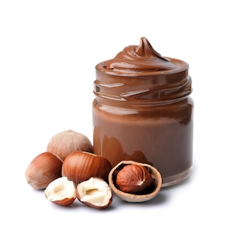 Chocolate spread with filbert nuts isolated.