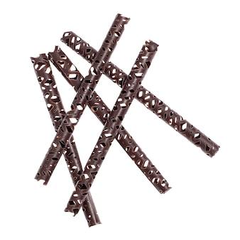 チョコレートスティックは白い表面に中空で隔離されています。