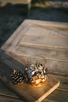 Chocolate sundae on the table.
