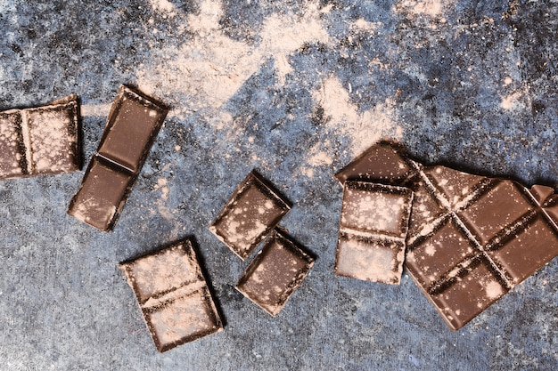 Chocolate tablets covered in cocoa sparkling
