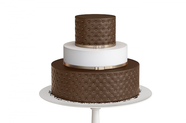 Chocolate three tiered wedding cake on a white plate