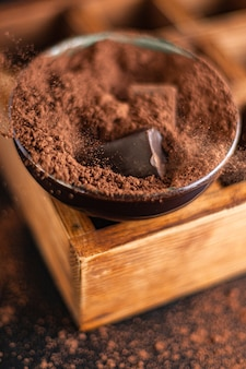 Chocolate truffle candies in cocoa powder natural chocolate butter dessert sweets meal snack