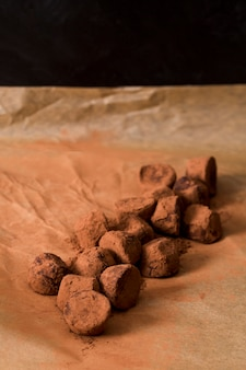 Chocolate truffle in cocoa powder