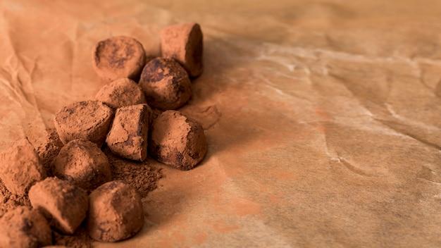 Chocolate truffle in cocoa powder