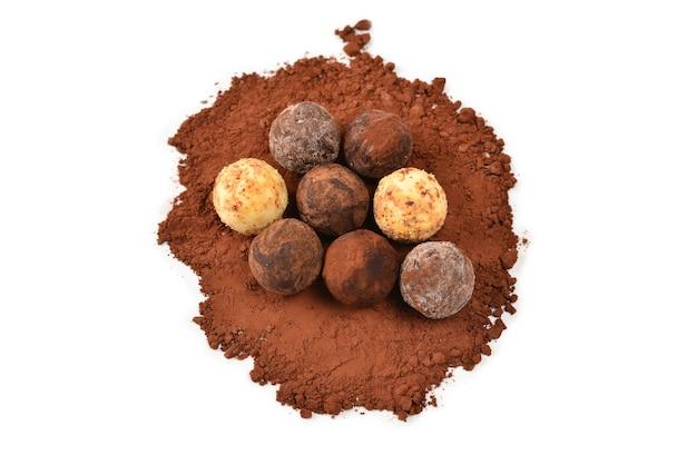 Chocolate truffle isolated on white background.