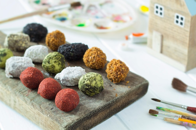 Chocolate truffles in stock. handmade candies. sweets cooked at home.