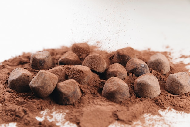 코코아 가루와 초콜릿 트뤼플