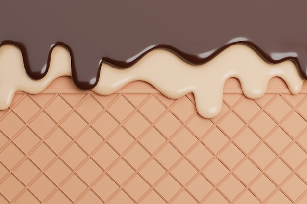 Chocolate and vanilla ice cream melted on wafer background,