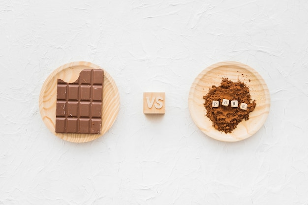 Chocolate versus cocoa powder with pure cubic blocks