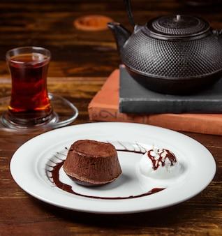 Chocolate volcano with ice cream