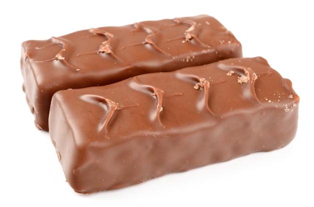 白に分離されたキャラメルとチョコレート