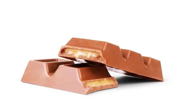 흰색 바탕에 카라멜을 넣은 초콜릿