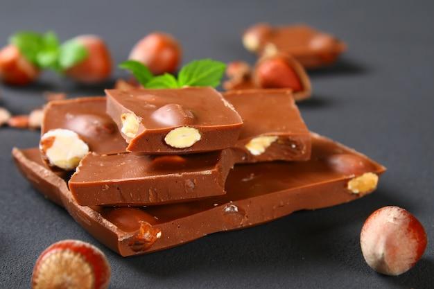 Chocolate with hazelnuts