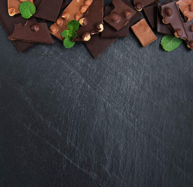Chocolate with nuts background