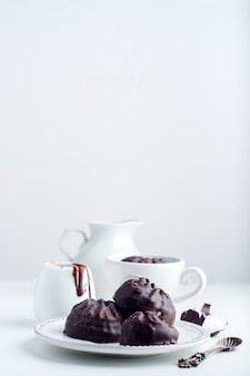 Chocolate  zephyr and cup of coffee