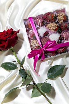 Chocolatecovered strawberries in a box