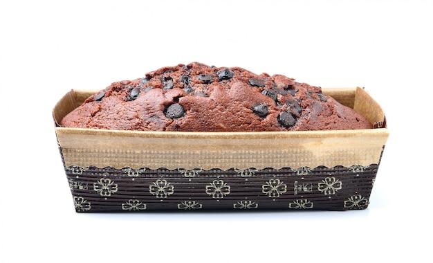 ホワイトスペースのボックスにチョコレートケーキ