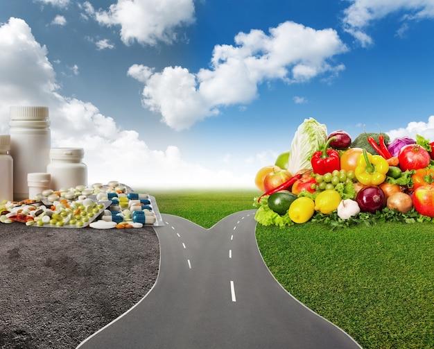 Choice between healthy food or medical pills