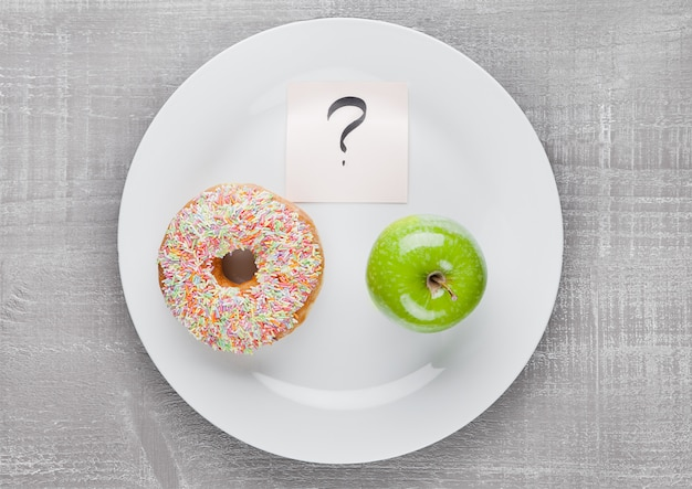 Choices between donut and apple