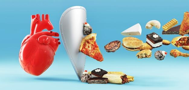 Холестериновая диета и здоровая пища, питательная для концепции профилактики сердечно-сосудистых заболеваний с помощью нездоровой пищи