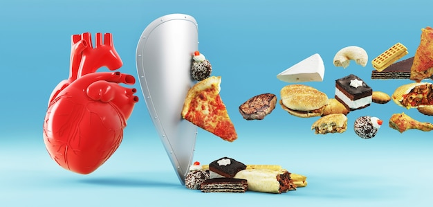 Cholesterol diet and healthy food nutritional for cardiovascular disease prevention concept with junk food
