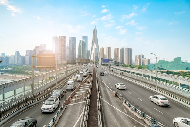 Chongqing city architectural landscape skyline and road ground