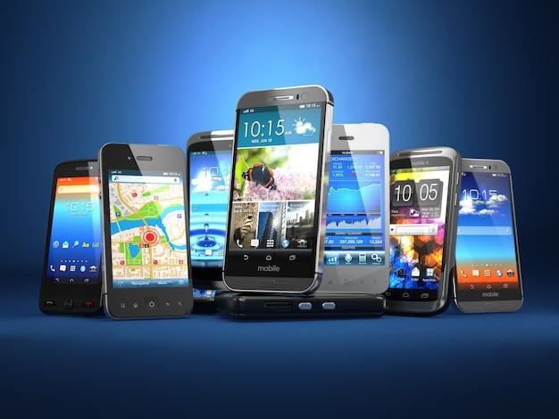 青い背景の3dでさまざまなスマートフォンの携帯電話の行を選択してください