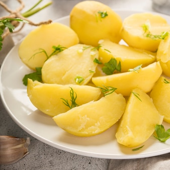 Chopped cooked potatoes on plate