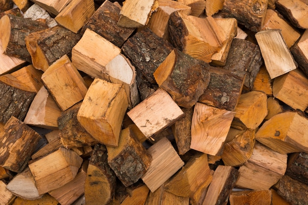 Chopped firewood closeup