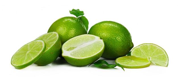 Chopped lime fruit isolated on white background