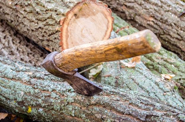 デッキの1つに刻まれた木と斧