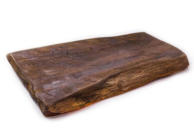 まな板、手作りの木製キッチンボード、孤立した白い表面