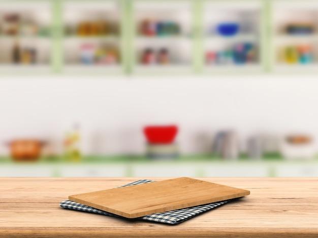 Разделочная доска на деревянной столешнице с фоном кухонного шкафа