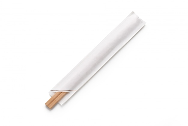 Chopstick in paper on isolated white