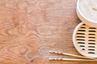Chopsticks and opened box